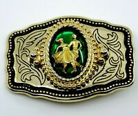 Square Dancing Belt Buckle Green Goldtone Western Wear