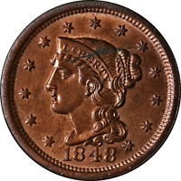 1848 Large Cent Choice BU Details N-1 R.2 Great Eye Appeal Strong Strike