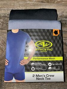 Athletic Works ~ 2-Pair Mens Crew Neck Tee T-Shirts Performance Mesh ~ S
