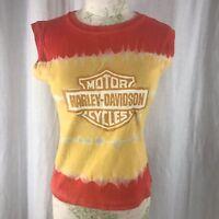 HD Harley Davidson Las Vegas Womens M Sleeveless Shirt Top Tie Dye Yellow Orange