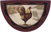 Rooster Chicken Rug Mat Burgundy Red Beige Country Washable Accent Matching Set