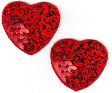 SET OF 2 RED SEQUIN HEARTS - VALENTINE - LOVE - HEART -  Iron On Applique Patch