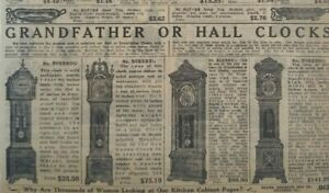 1911 Antique Grandfather Clock New Haven Waterbury Sears Catalog Page Print Ad
