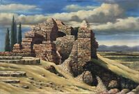 R. Wessel - Ruinenlandschaft from The Byzanz - Italy Oil Painting 66 x 96