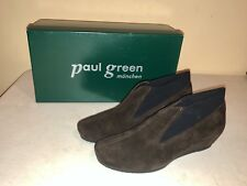 NIB US Women's 7.5 New PAUL GREEN Newton Brown Black Suede ankle boots Booties