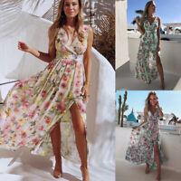 ❤️ Women's Sleeveless Floral Long Dress Summer Casual Split V-neck Maxi Dresses
