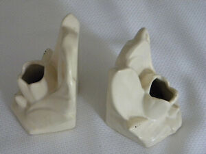 Pair of Vintage McCoy Cream Matte Tulip Pottery Bookends