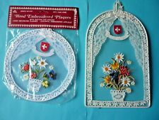 "2 EMBROIDERED SWITZERLAND WALL / HANGING PLAQUES > 6"" DIA & 8 1/4"" H x 5 3/8"" W"