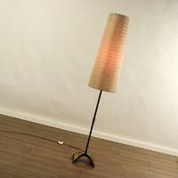 Boden Leuchte Messing & Schwarz Steh Lampe Bastschirm Vintage Mid Century 50er
