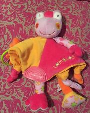 A # Doudou Plat Grenouille Rose Orange  Babysun Baby Sun PLUSH