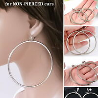 #E121C Pair NON-PIERCED CLIP ON Dangle THICK TUBE Hoop Earrings Big or Small New