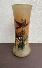 Vase en verre Émaillé signé JEM Canards