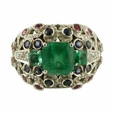 Mounted With 3 Emeralds 1.90CT & 2.90CT Rubies and Blue Sapphires Beautiful Ring