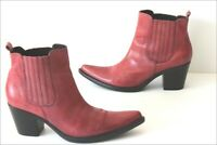 MANI MANILDA Bottines Boots Pointues Cuir Rouge Clair T 37 TTBE