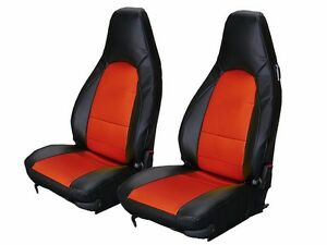 PORSCHE 911 928 944 968 BLACK/RED S.LEATHER CUSTOM MADE FIT FRONT SEAT COVER