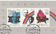 SAN MARINO  francobolli usati 1991 foglietto NASCE LA  NUOVA EUROPA ANNULLO FDC