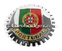 1 - NEW Chrome Front Grill Badge Portuguese Republic of PORTUGAL FLAG MEDALLION
