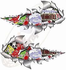 Pair Metal RipOpen Stickerbomb No3 Jdm Race Car Van Motorbike 150mm each sticker