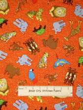 Avlyn Photo Safari Orange Animal Toss Turtle Leopard, Monkey Cotton Fabric YARD