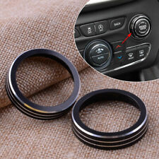 Pair Volume CD Switch Knob Ring Trim Cover Fit For Jeep Grand Cherokee Black
