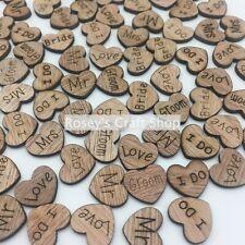 100  x Wedding Table Decorations Rustic Small Wooden Hearts Confetti Love Decor