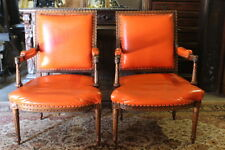 Pair Vintage Louis XVI French Provincial Style Open Armchairs