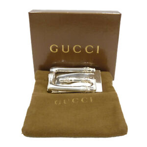 Authentic GUCCI Bamboo Motif Money Clip 925 Sterling Silver #S305055