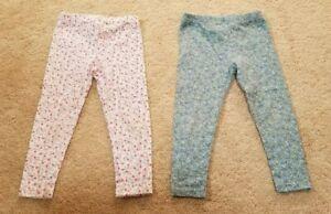 Lot of 2 - Gymboree Toddler Girls Floral Leggings, Size 3T (2-3 Years)
