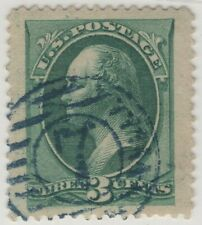 #184 Used 95J XF-Superb Blue Numeral 7 in Double Circle w/PSE Cert (GP2 7/29/19)