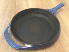 """More details for le creuset frying pan, 9 1/2"""" dia, blue, good enamel, cast iron, wooden handles."""