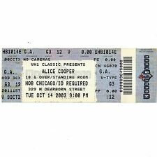 ALICE COOPER Concert Ticket Stub CHICAGO 10/14/03 HOB EYES OF ALICE COOPER TOUR