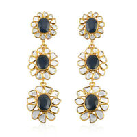 925 Sterling Silver Blue Sapphire Diamond Drop Dangle Earrings Gift Ct 10.2