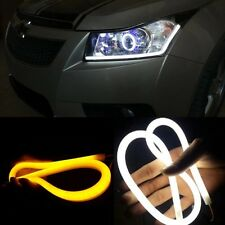 For CRUZE Flexible White+Yellow AUDI style TUBE daytime light DRL Car & bike LED