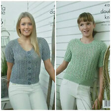 King Cole 4126 Knitting Pattern Top and Short Sleeved Cardigan in Authentic DK