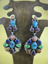 V & C Hale Turquoise Lapis Spiny Oyster Sterling Silver Multi Earrings Navajo