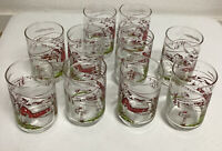 Set Of 10 Vintage Hickory Farms Red Barn Farm Scene Drinking Glass Glasses