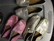 choice  Toms Classic Silver pink Glitter Canvas Slip On Shoes Size 6, 6.5, 8.5