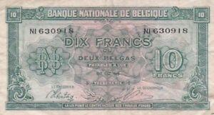 1943 Belgium 10 Francs Note, Pick 122