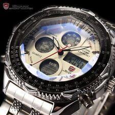 Eightgill Shark Mens LCD Digital Date Stainless Steel Fashion Sport Quartz Watch
