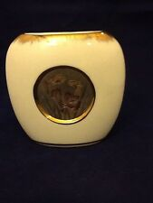 Chokin White Vase With Flowers & Butterflies, Edged In Gold