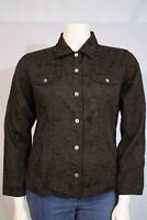 Chico's Misses 2 LARGE 12 14 Brown Floral Print Button Front Casual Jacket