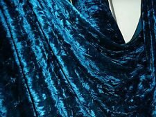 2 MTR  QUALITY DARK TEAL BLUE ICE CRUSH VELVET FABRIC ... 58 INCHES WIDE