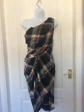 All Saints Tartan Dress Size 8 Check Off The Shoulder Draped Alternative