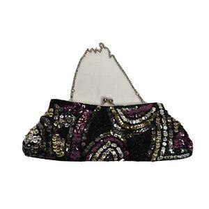 Vecceli Italy Womens Beaded Sequin Clutch Purse Under Arm Bag Kiss Clasp Closure