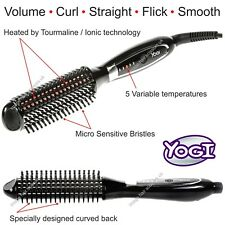 HEATED Hot Brush Hair Styler YOGI TouchX Voulme Wave Curl Smooth Flick Style