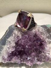 Judith Ripka 925 Silver/ 18k Purple Doublet Monaco Ring w/ Black Spinel & Diam.