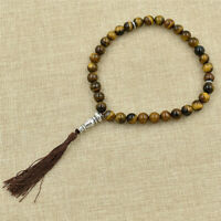 Tiger Eye Stone Tassel Artificial Crystal 33 Prayer Beads Islamic Muslim Rosary