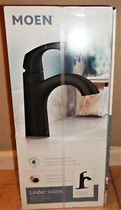 MOEN LINDOR Bathroom Sink Faucet Matte Black w/Drain & Deck Plate 84505BL BEST $