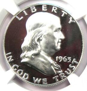 1963 PROOF Franklin Half Dollar 50C Coin - NGC PR69 Cameo (PF69) - $1,080 Value!