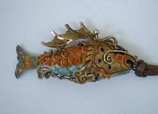 VINTAGE ARTICULATED CHINESE SILVER  FILIGREE ENAMEL KOI FISH PENDANT-DRAGON FACE